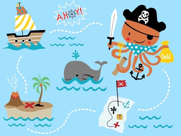 Vector conjunto de dibujos animados pirata