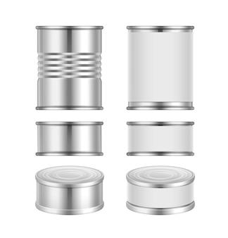 Vector conjunto de diferentes latas de acero con envases en blanco aislado sobre fondo blanco.
