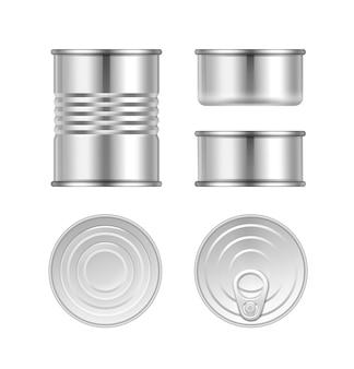 Vector conjunto de diferentes latas de acero vista superior y lateral aislado sobre fondo blanco.