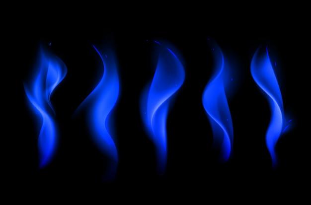 Vector conjunto de diferentes llamas de fuego azul