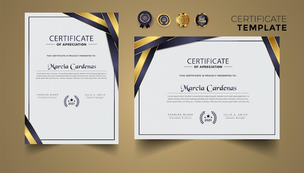 Vector de conjunto de diseño de plantilla de certificado premium dorado y azul