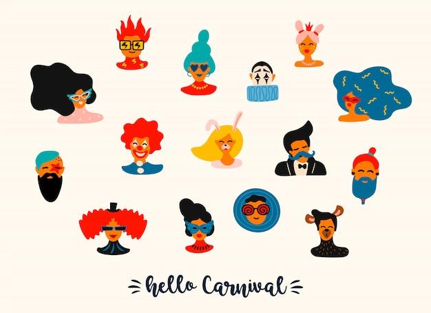 Vector conjunto de divertidos rostros masculinos y femeninos en trajes y máscaras brillantes.