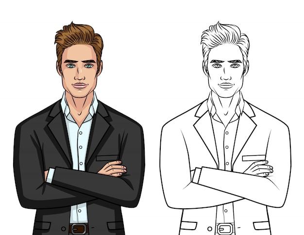 Vector conjunto de dos caballeros elegantes: carácter colorido y silueta de línea aislada