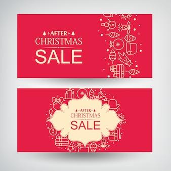 Vector conjunto de dos pancartas de venta de navidad con información sobre descuentos después de navidad y regalos decorativos, símbolos tradicionales