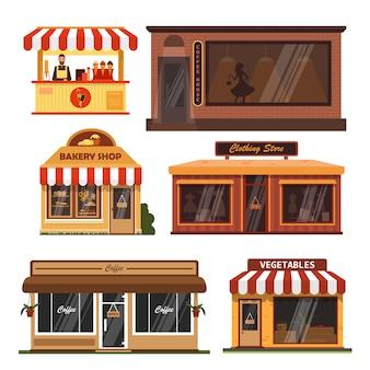 Vector conjunto de edificios de escaparate. cafetería, panadería, tienda de comestibles.