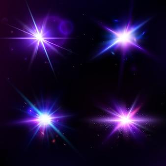Vector conjunto con efecto de luz resplandor. estrella estalló con destellos.