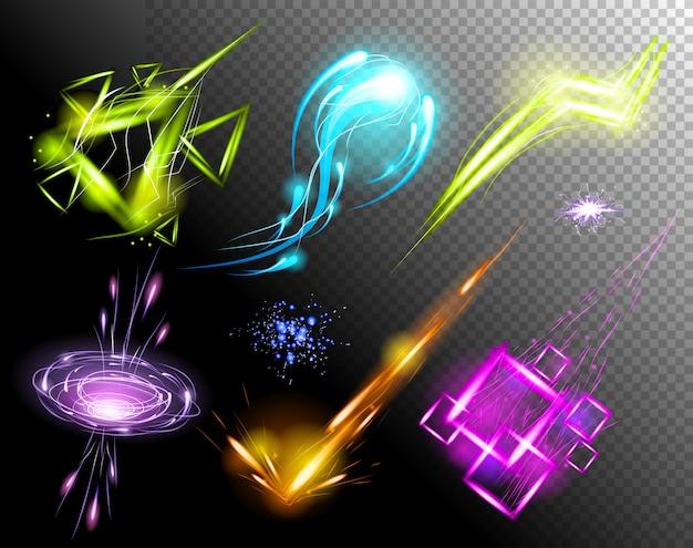Vector conjunto de efectos de luz brillante