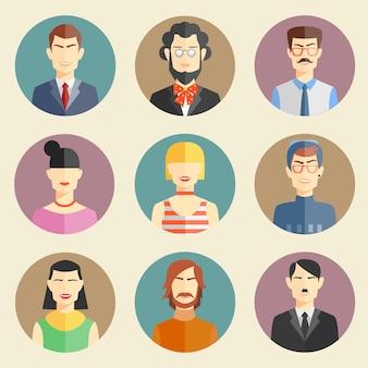 Vector conjunto de elegantes personajes guapos en moderno diseño plano