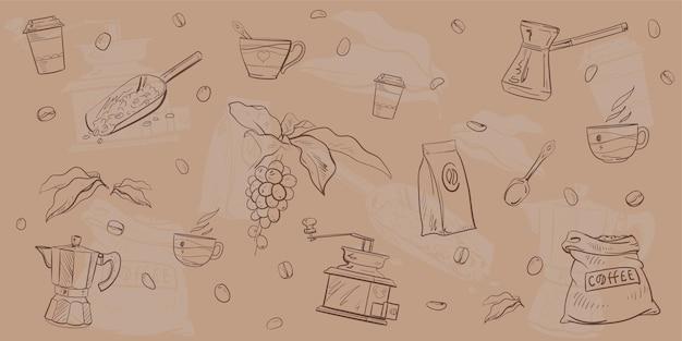 Vector conjunto de elementos de café patten