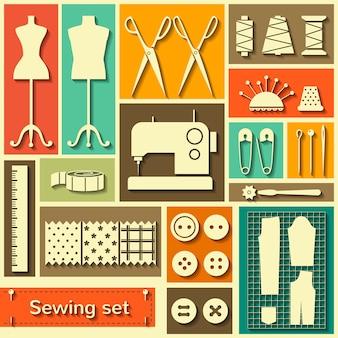 Vector conjunto de elementos de costura plana