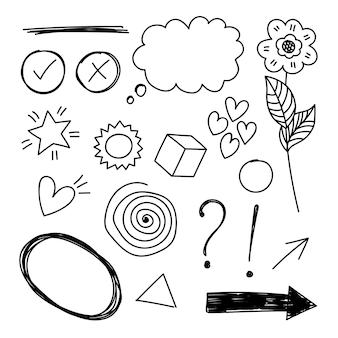Vector conjunto de elementos dibujados a mano. burbuja, estrella, flecha, corazón, amor, flor, remolino, signo de exclamación e interrogación, marca de verificación y cruz para el diseño conceptual.