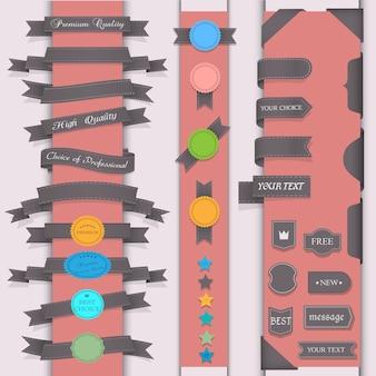Vector conjunto de elementos de diseño en estilo retro