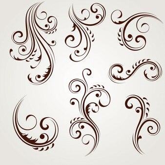 Vector conjunto de elementos de diseño floral.
