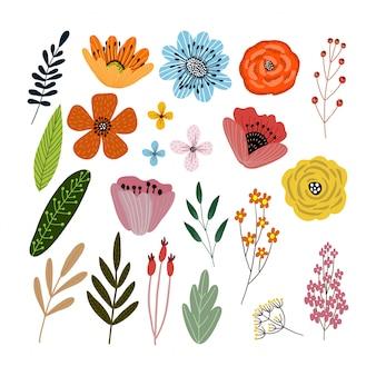 Vector conjunto de elementos florales con flores dibujadas a mano