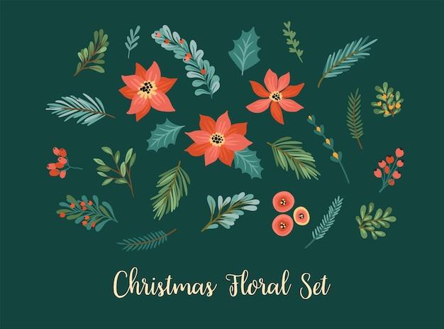 Vector conjunto de elementos florales navideños