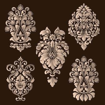 Vector conjunto de elementos ornamentales de damasco