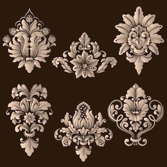 Vector conjunto de elementos ornamentales de damasco.