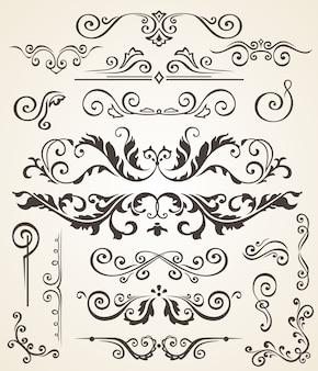 Vector conjunto de elementos de remolino y esquinas para diseño