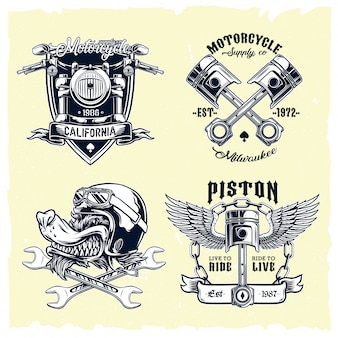Vector conjunto de emblemas de motos clásicas