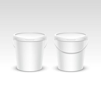 Vector conjunto de envases de contenedores de cubo de plástico