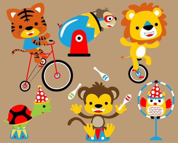Vector conjunto de espectáculo de circo con dibujos animados de animales graciosos