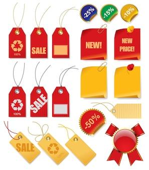 Vector conjunto de etiquetas de precio