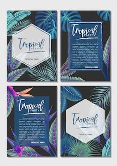 Vector conjunto exóticas hojas tropicales invitación tarjeta