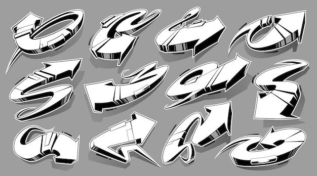 Vector conjunto de flechas de graffiti abstracto monocromo. flechas de estilo salvaje 3d. conjunto de vectores de elementos de diseño de arte callejero.