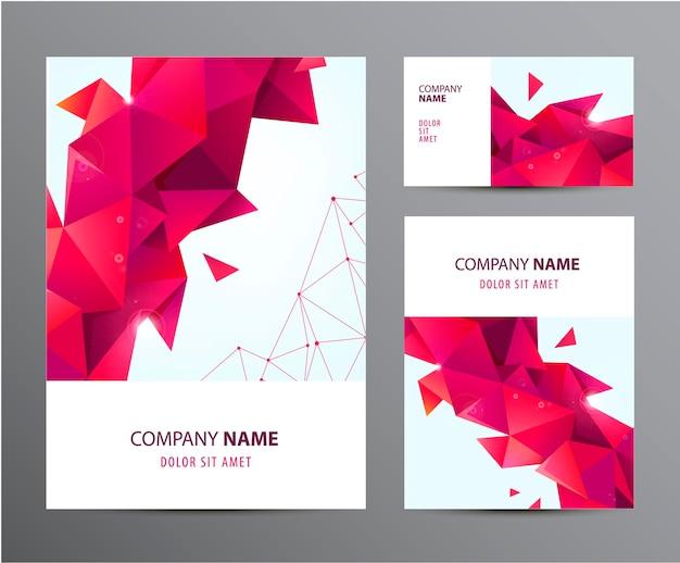 Vector conjunto de folleto, tarjeta de visita, portada, diseño de volante