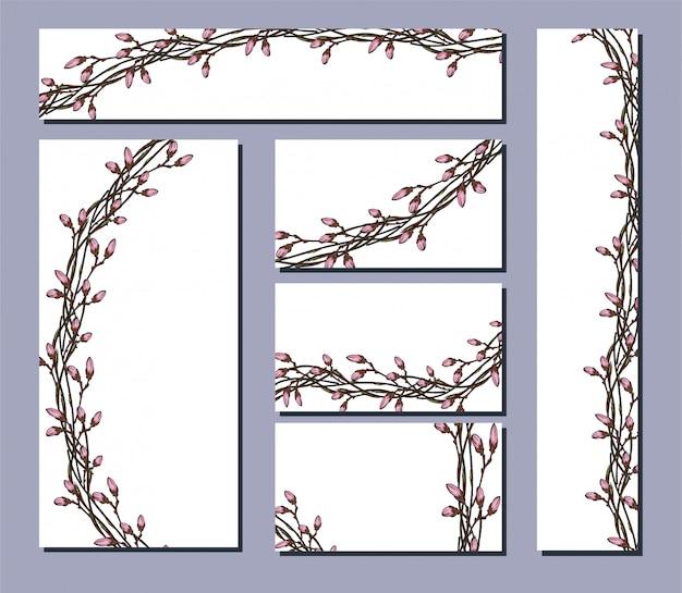 Vector conjunto de folletos postales con adornos florales.