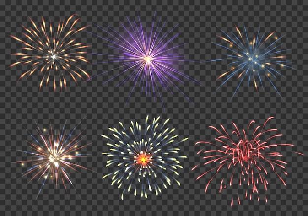 Vector conjunto de fuegos artificiales. evento, brillo y estrella, ilustración pirotécnica y petarda.