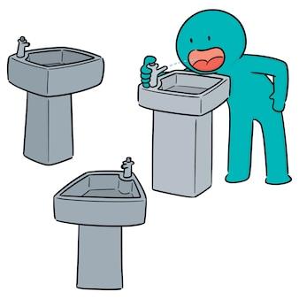 Vector conjunto de fuente de agua potable