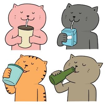 Vector conjunto de gato bebiendo