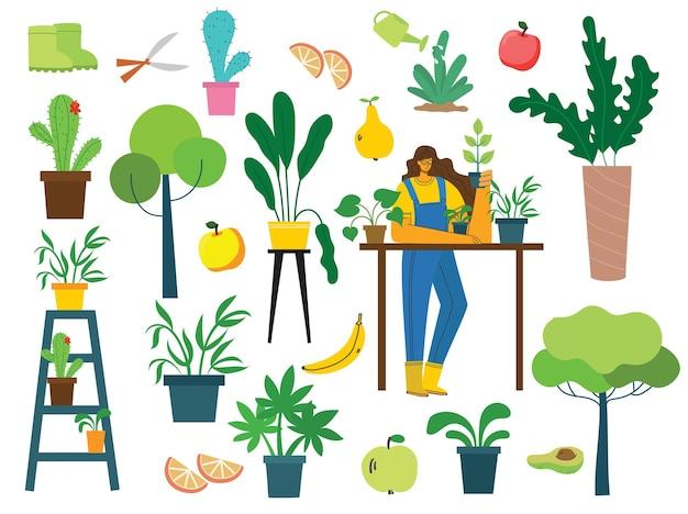 Vector conjunto de gente del pueblo con alimentos orgánicos, flores y plantas en el diseño plano