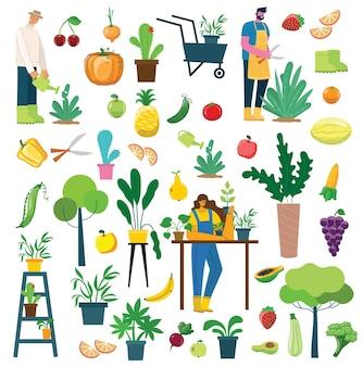 Vector conjunto de gente del pueblo con comida ecológica orgánica, flores y plantas en el diseño plano