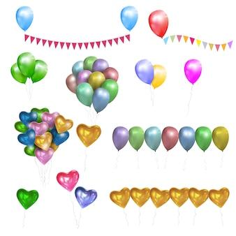 Vector conjunto de globos de colores brillantes, corazones y banderas del empavesado