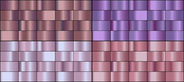 Vector conjunto de gradientes de metal de color oro rosa.