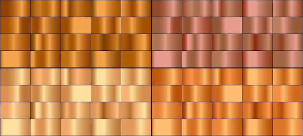 Vector conjunto de gradientes de metal dorado y bronce.