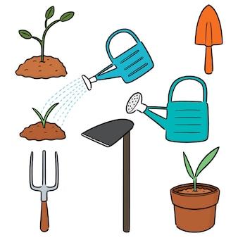Vector conjunto de herramienta de jardinería