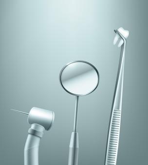 Vector conjunto de herramientas dentales de acero inoxidable espejo, taladro y fórceps con vista lateral del diente en el fondo