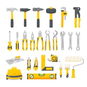 Vector conjunto de herramientas mecánicas. herramientas de construcción para reparaciones en el hogar aislado sobre un fondo blanco.