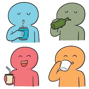 Vector conjunto de hombre bebiendo