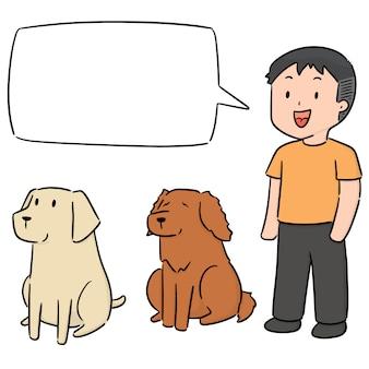 Vector conjunto de hombre y perro