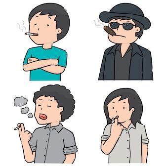 Vector conjunto de hombres fumando cigarrillos
