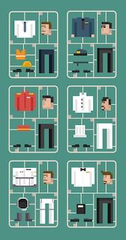 Vector conjunto de hombres y profesiones