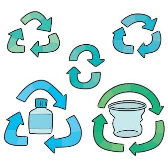 Vector conjunto de icono de reciclaje