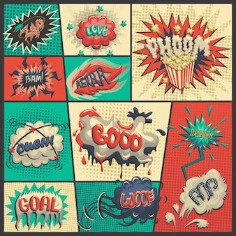 Vector conjunto de iconos de cómics