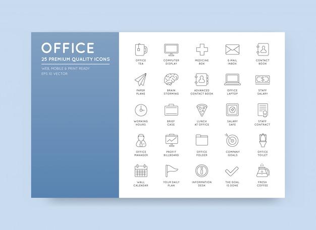 Vector conjunto de iconos de contorno de oficina de alta calidad