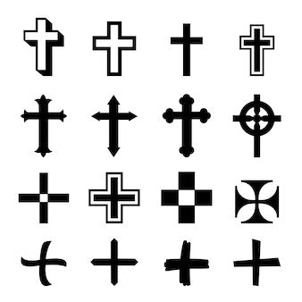 Vector conjunto de iconos de cruces negras