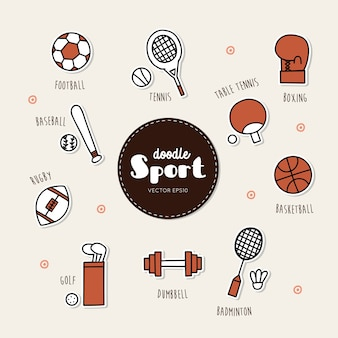 Vector conjunto de iconos de deporte. garabatear.